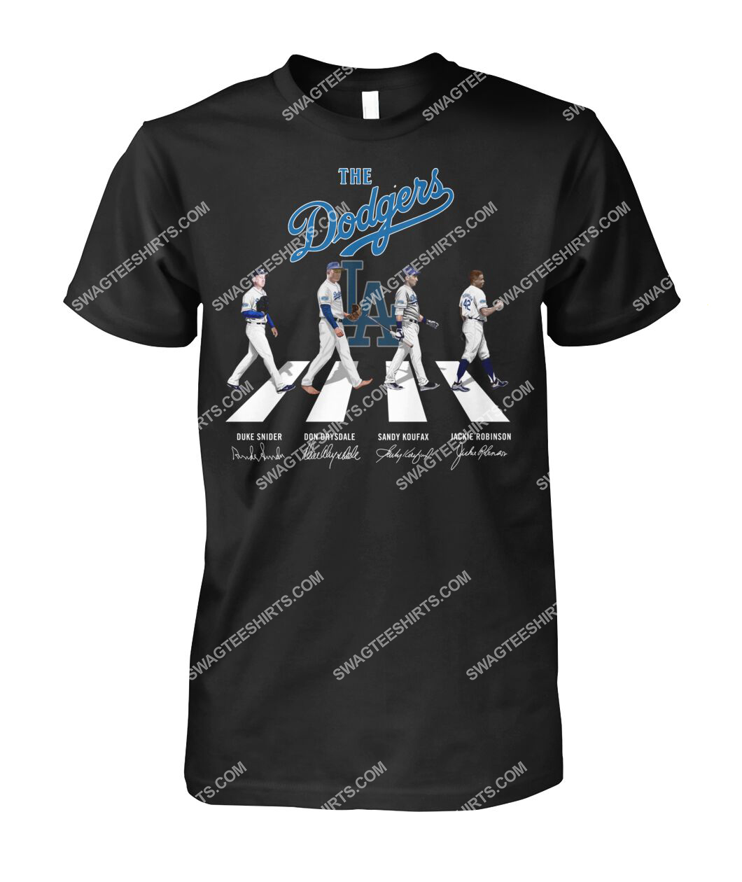 abbey road the los angeles dodgers signatures tshirt 1
