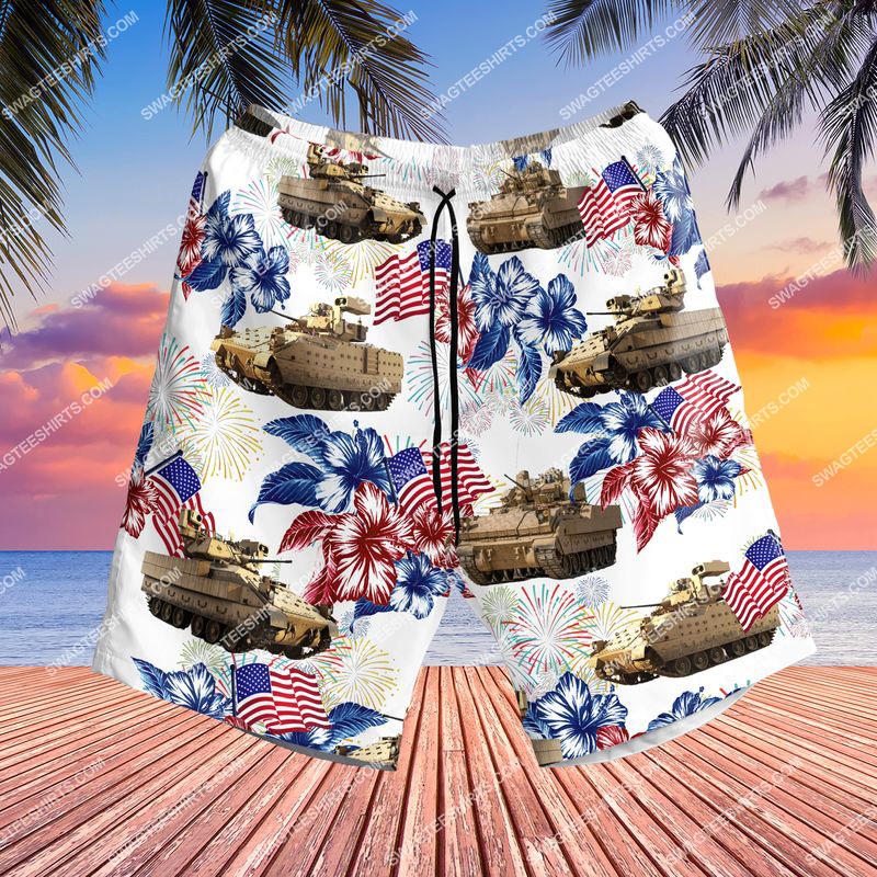 bradley fighting vehicle 4th of july all over print shorts 1