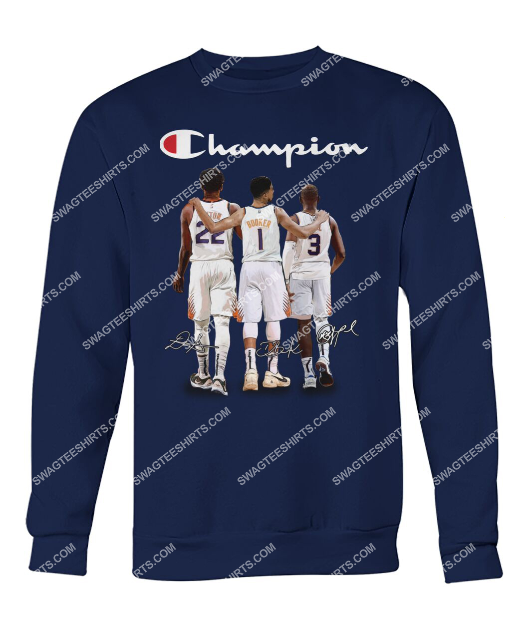 champion chris paul devin booker and deandre ayton signatures sweatshirt 1