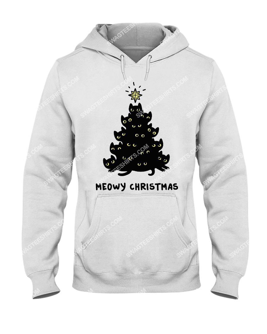 christmas tree meow christmas cat lover hoodie 1