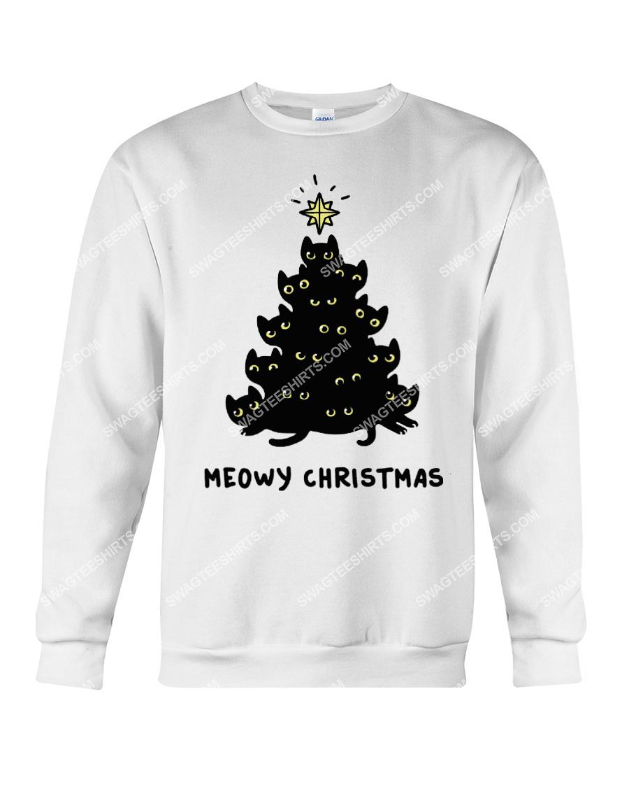 christmas tree meow christmas cat lover sweatshirt 1