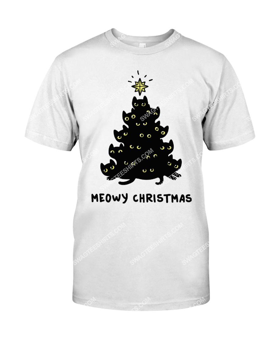 christmas tree meow christmas cat lover tshirt 1