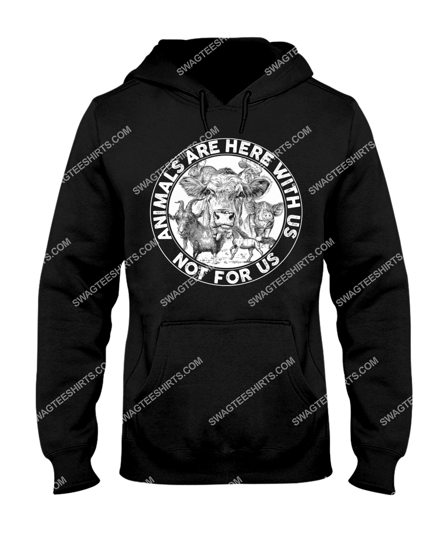 cows and pigs animals are not here for us save animals hoodie 1