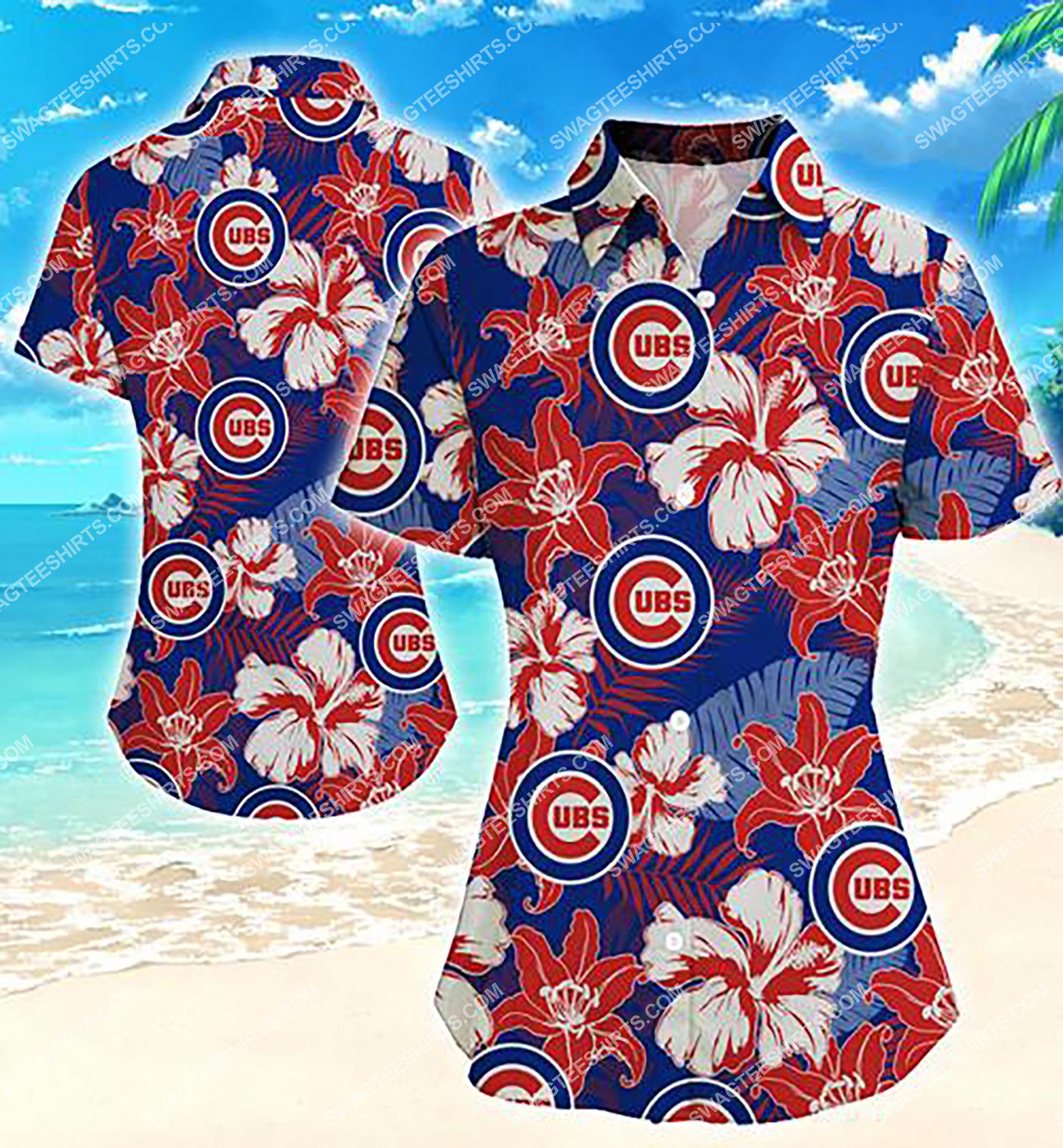floral chicago cubs team full print summer hawaiian shirt 2