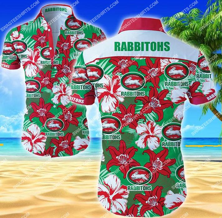 floral south sydney rabbitohs all over print hawaiian shirt 1 - Copy