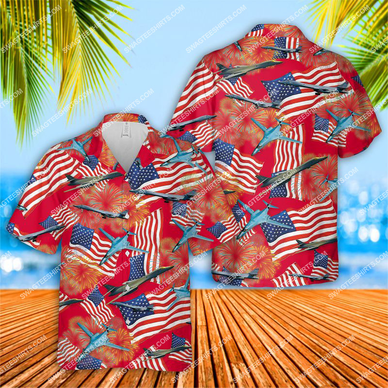 happy independence day us air force rockwell b-1 lancer all over print hawaiian shirt 1