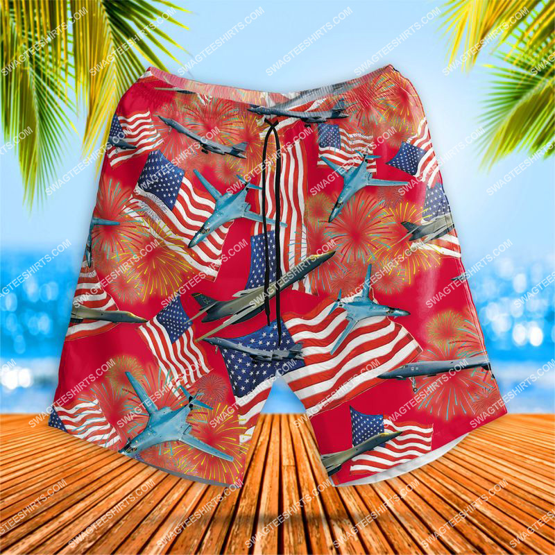 happy independence day us air force rockwell b-1 lancer all over print shorts 1