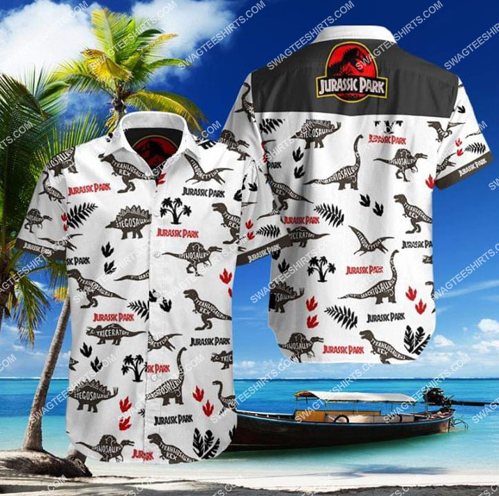 jurassic park movie all over print hawaiian shirt 1