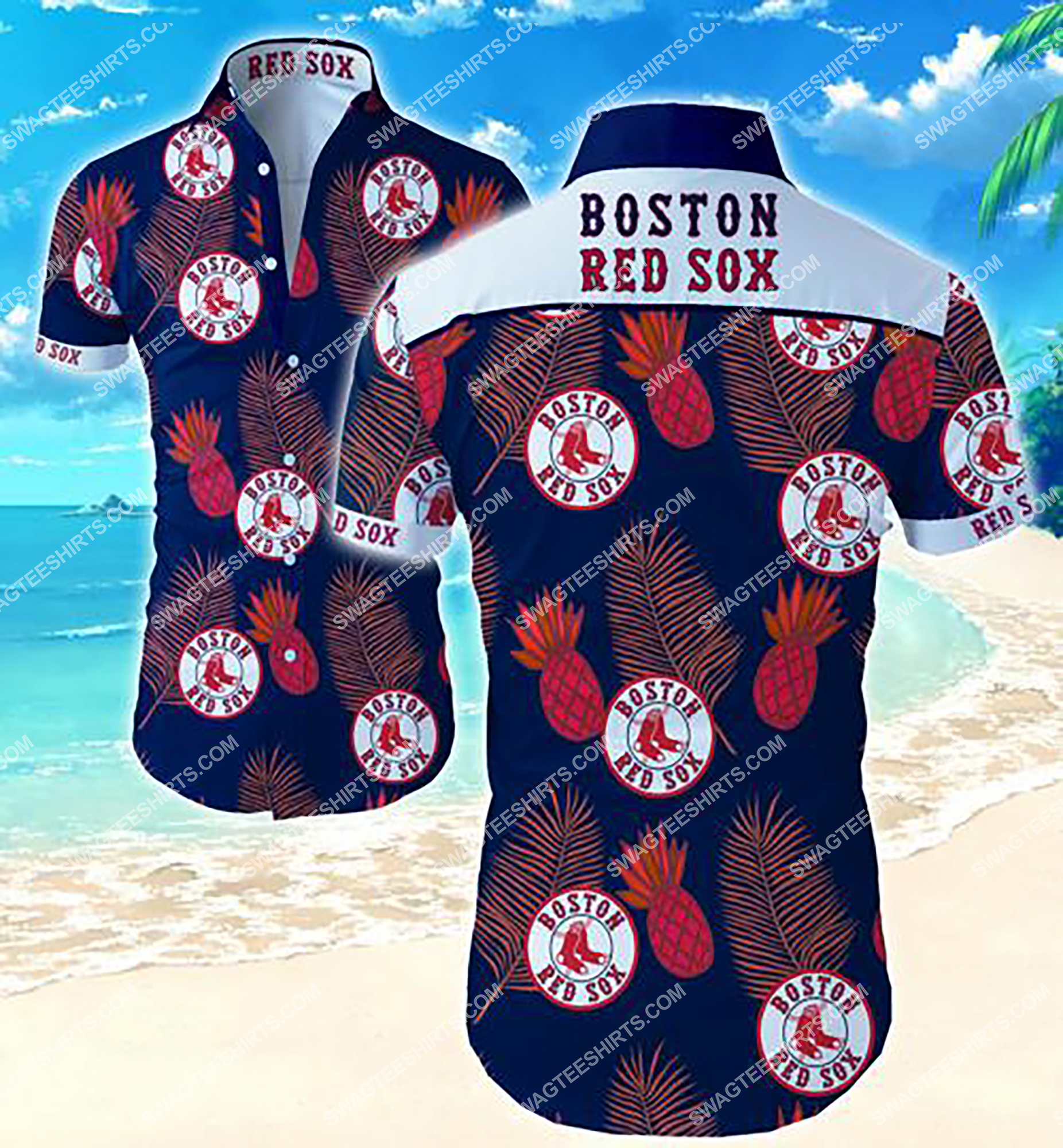 mlb boston red sox team tropical summer hawaiian shirt 2