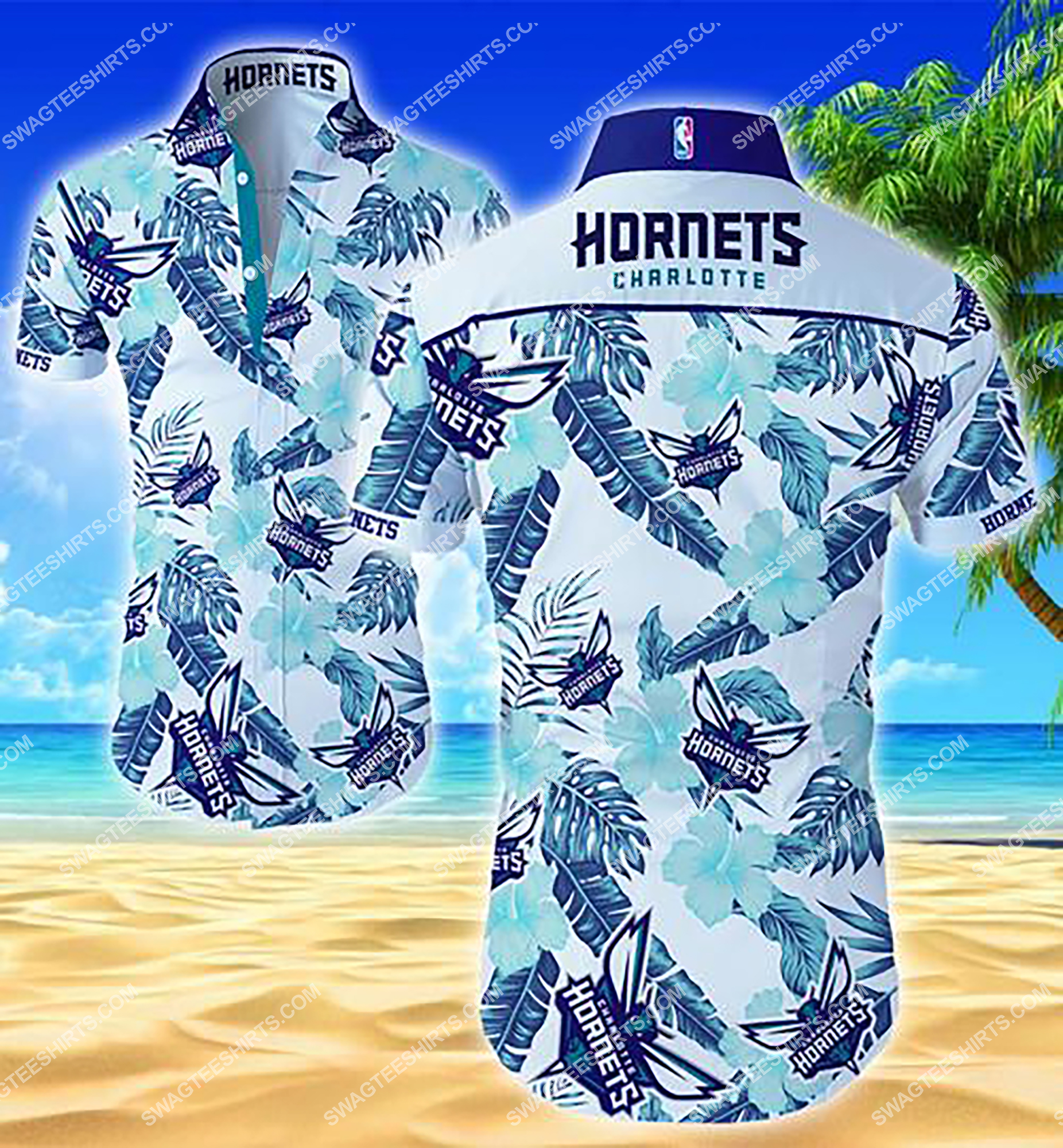 national basketball association charlotte hornets team hawaiian shirt 2 - Copy