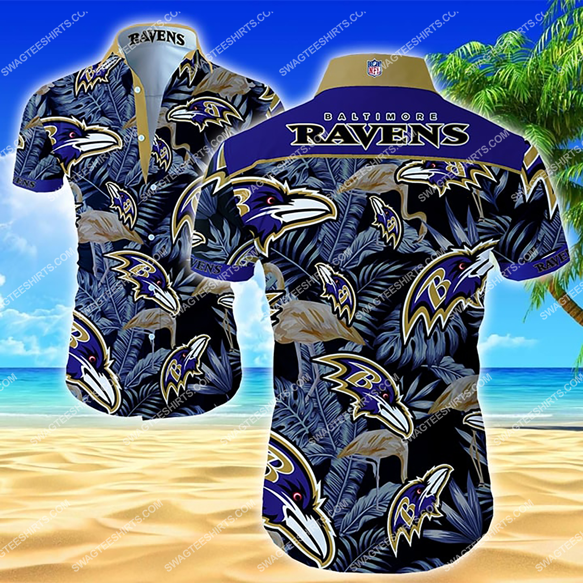 nfl baltimore ravens football team full printing summer hawaiian shirt 2 - Copy