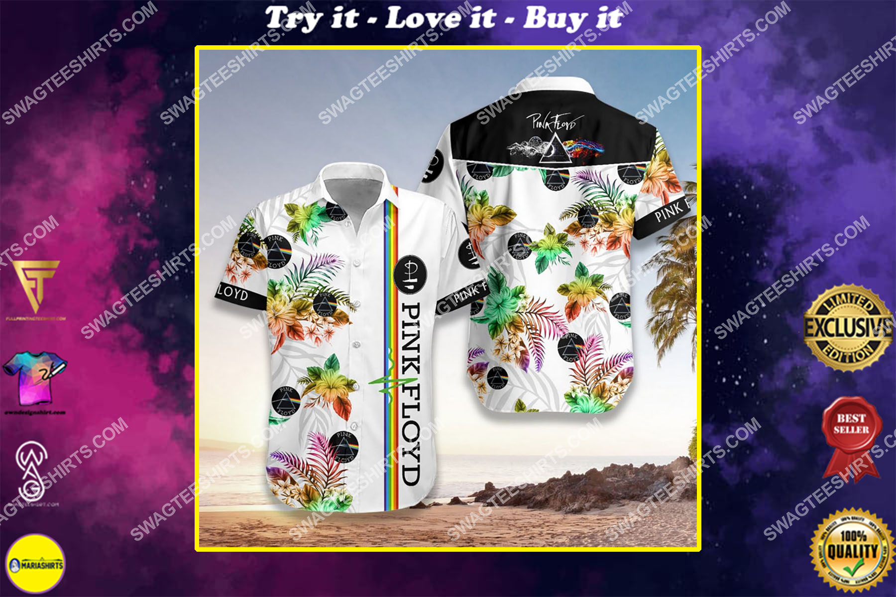 pink floyd legend band full printing hawaiian shirt - Copy (2)