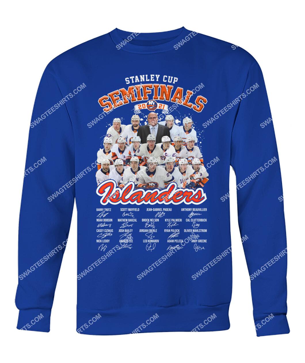 stanley cup semi finals 2021 new york islanders signatures sweatshirt 1