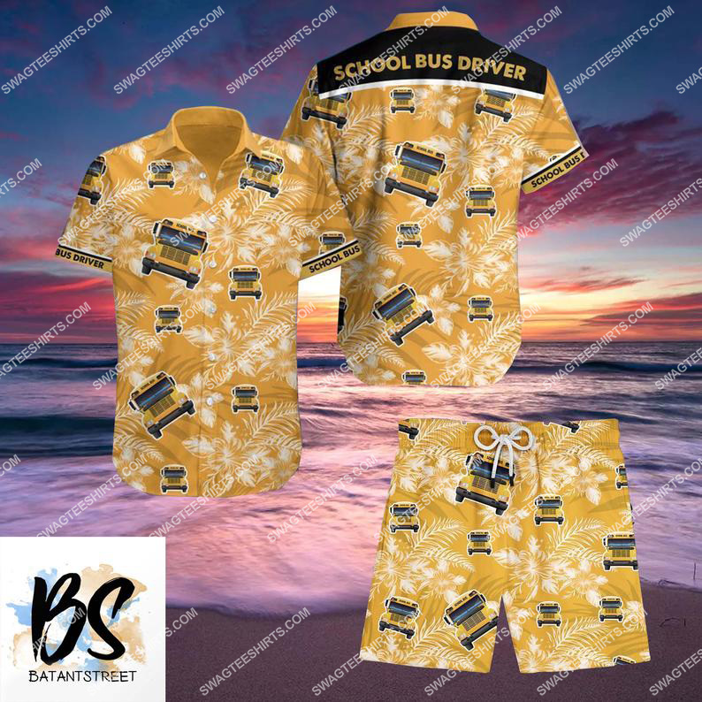 summer school bus driver full printing hawaiian shorts 1