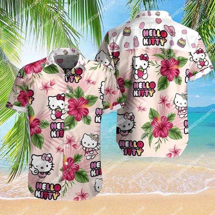 summer vacation hello kitty all over print hawaiian shirt 1