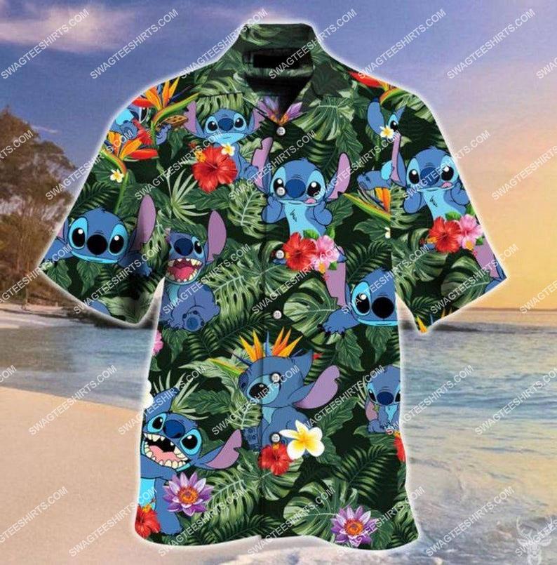 summer vacation stitch and lilo full printing hawaiian shirt 1