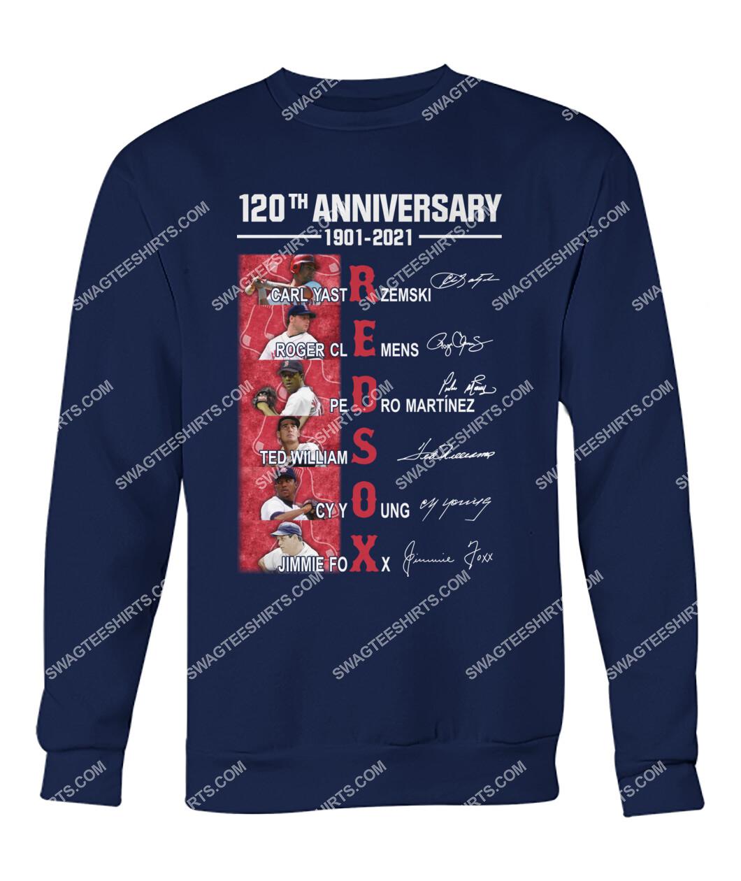 the boston red sox 120th anniversary 1901 2021 signatures mlb sweatshirt 1