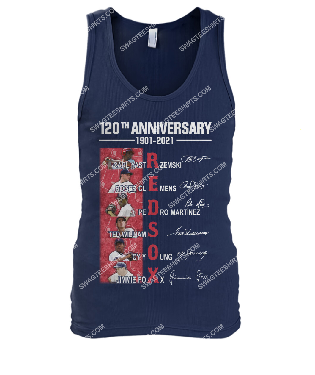 the boston red sox 120th anniversary 1901 2021 signatures mlb tank top 1