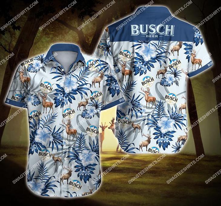 the busch beer tropical all over print hawaiian shirt 1