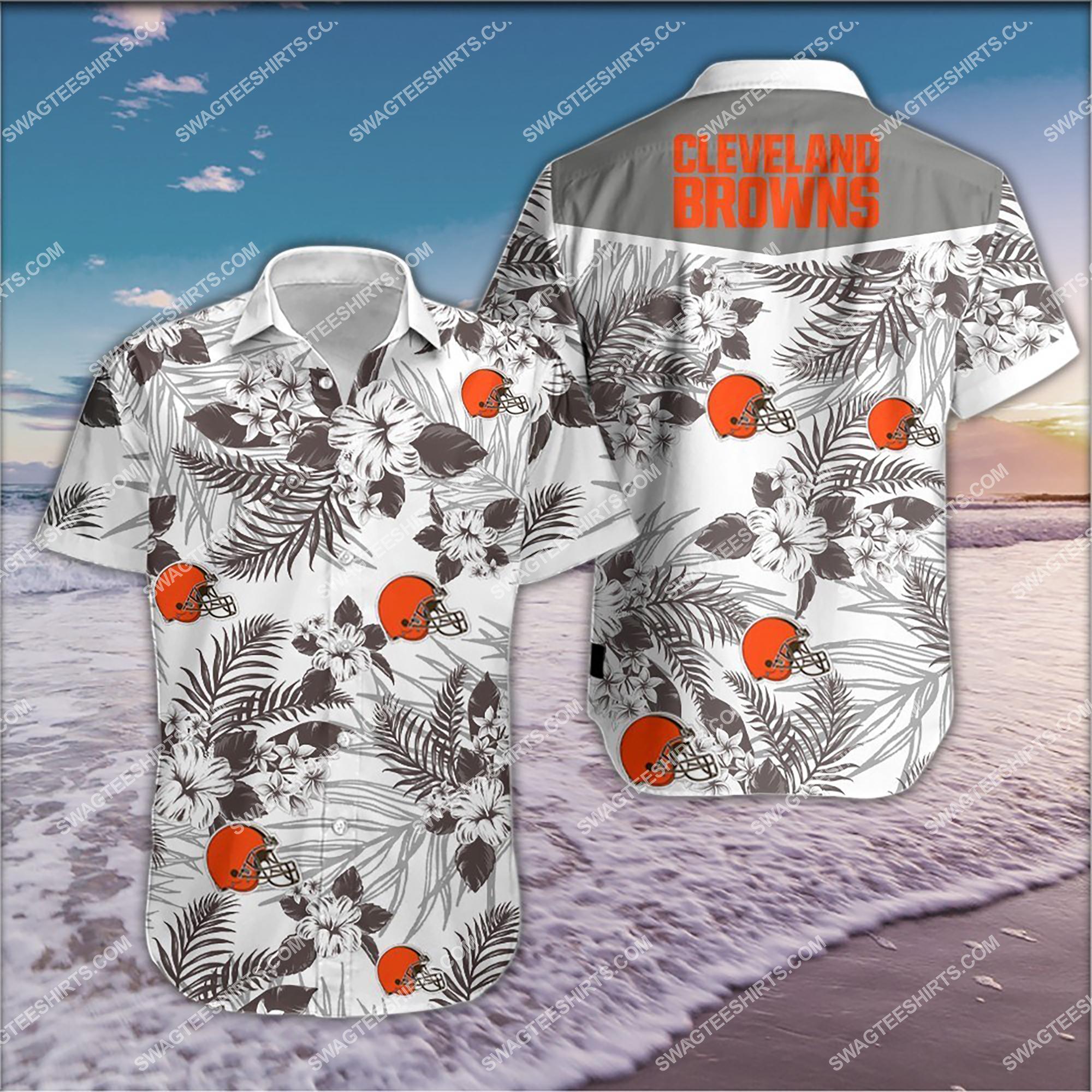 the cleveland browns team full print summer hawaiian shirt 2