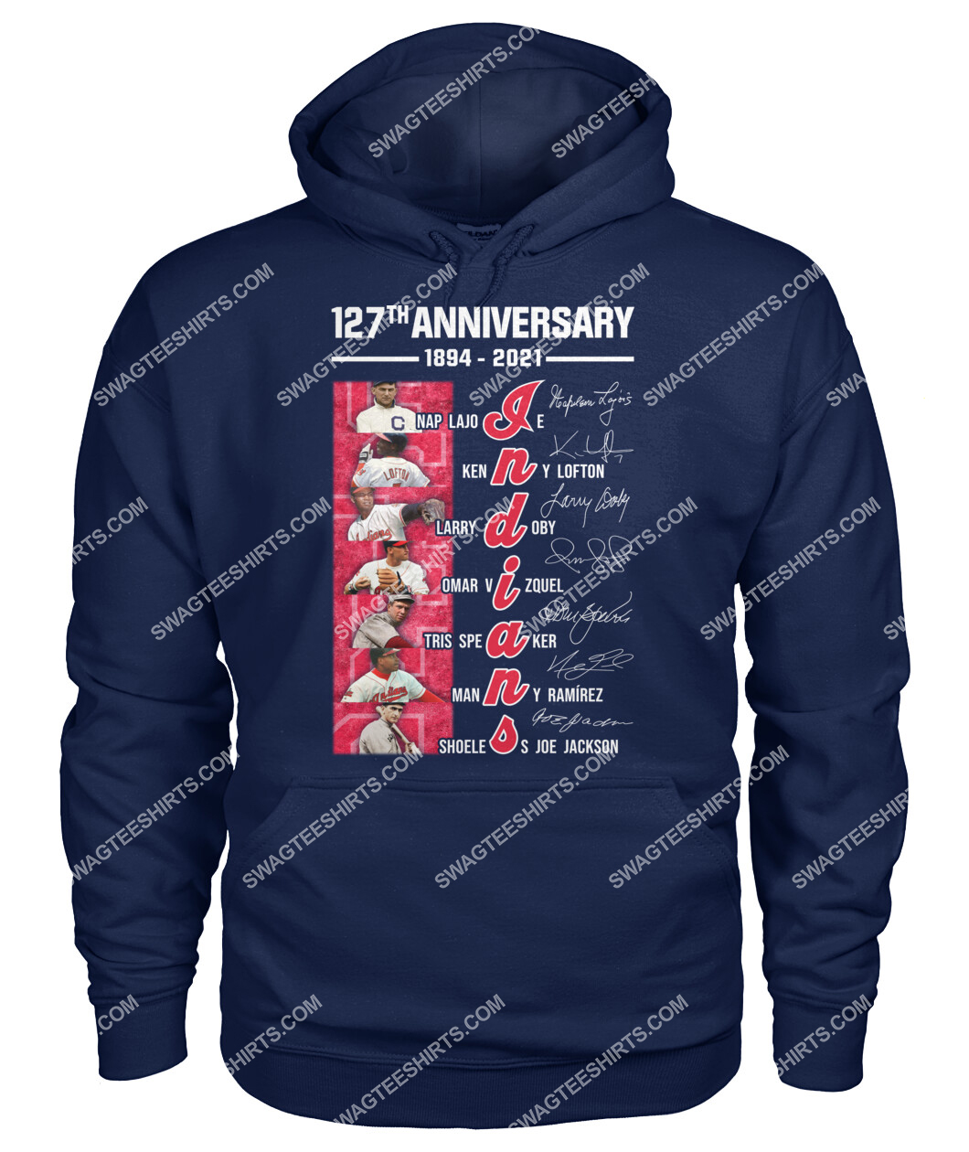 the cleveland indians 127th anniversary 1894 2021 signatures mlb hoodie 1