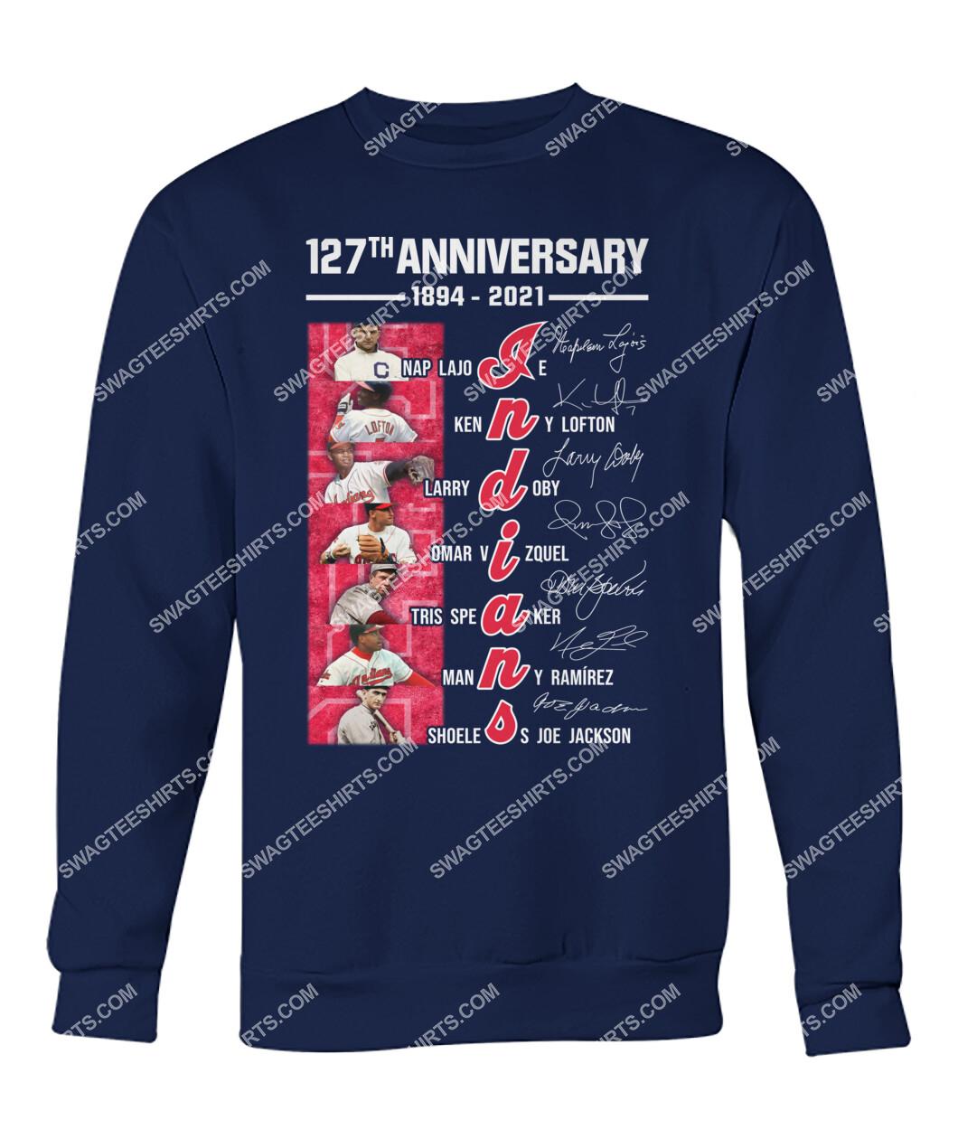 the cleveland indians 127th anniversary 1894 2021 signatures mlb sweatshirt 1