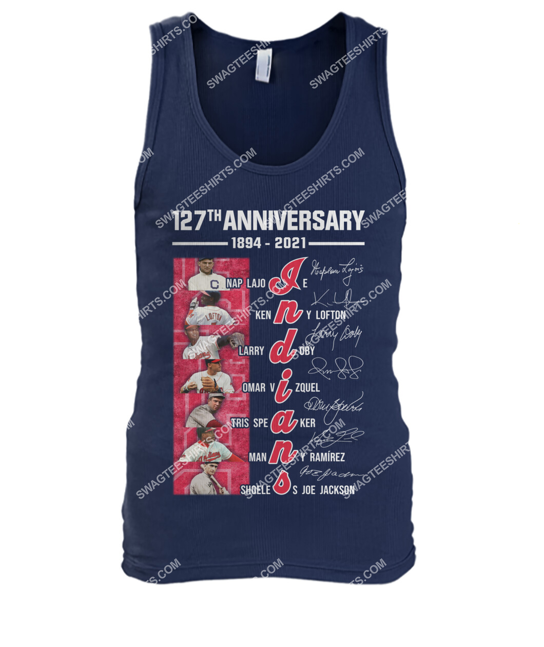 the cleveland indians 127th anniversary 1894 2021 signatures mlb tank top 1
