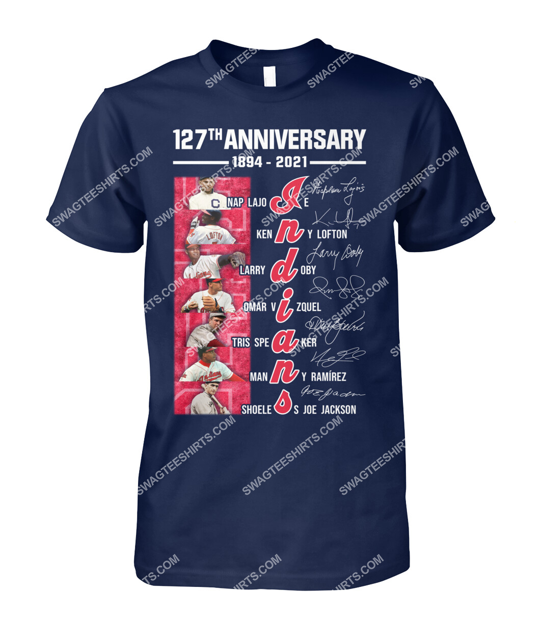 the cleveland indians 127th anniversary 1894 2021 signatures mlb tshirt 1