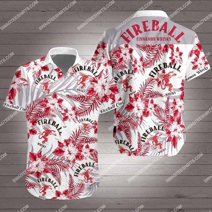 the fireball cinnamon whisky all over print hawaiian shirt 2