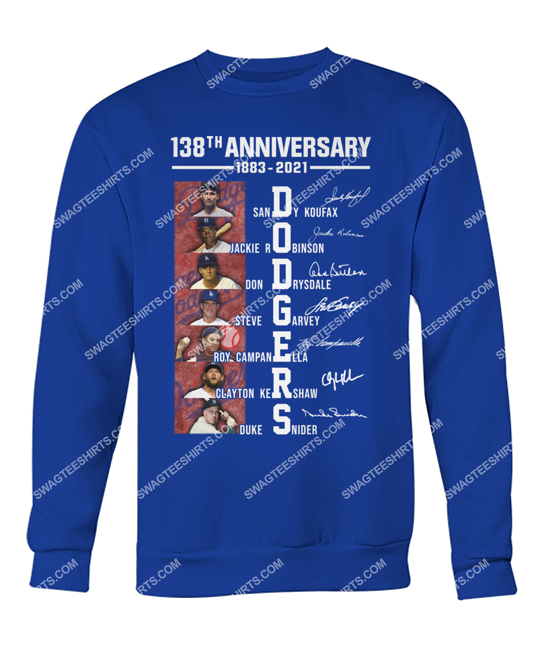 the los angeles dodgers 138th anniversary 1883 2021 signatures mlb sweatshirt 1