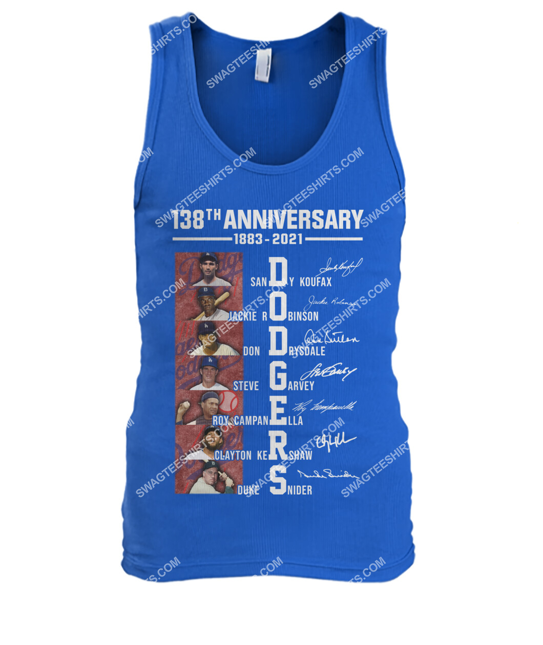 the los angeles dodgers 138th anniversary 1883 2021 signatures mlb tank top 1