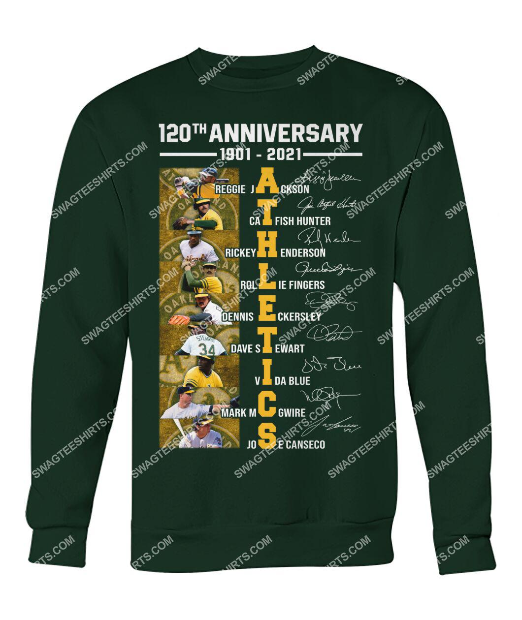 the oakland athletics 120th anniversary 1901 2021 signatures mlb sweatshirt 1
