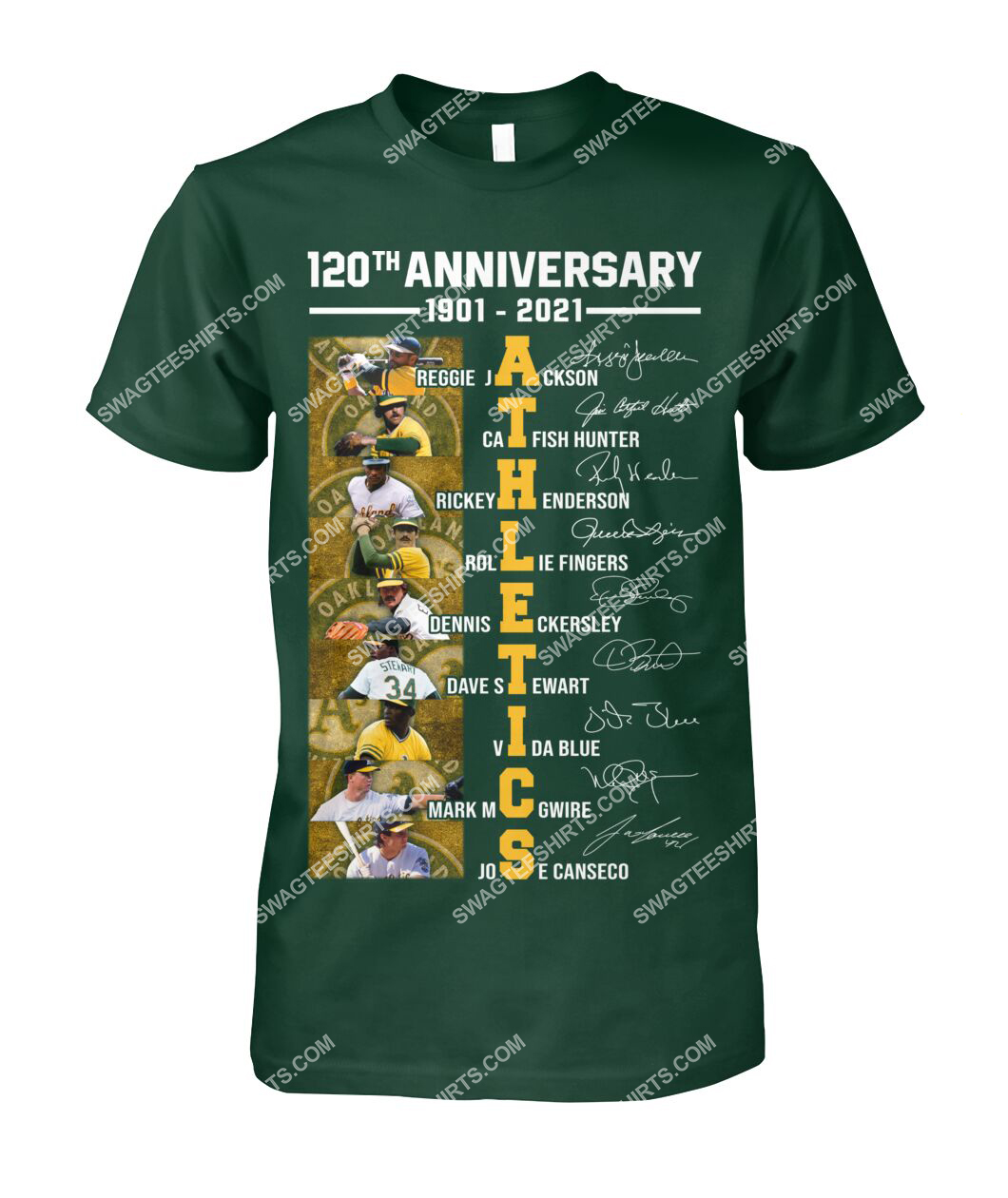 the oakland athletics 120th anniversary 1901 2021 signatures mlb tshirt 1