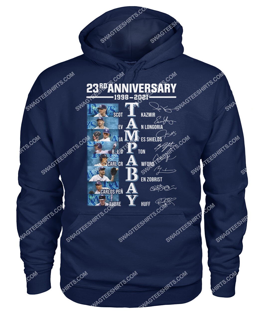 the tampa bay rays 23rd anniversary 1998 2021 signatures mlb hoodie 1