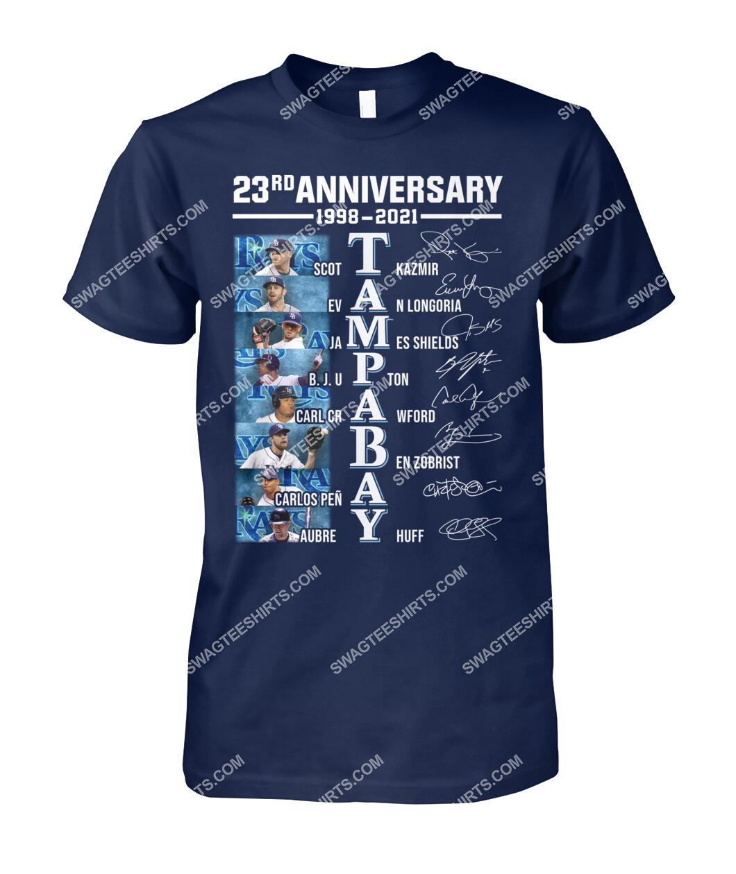 the tampa bay rays 23rd anniversary 1998 2021 signatures mlb tshirt 1