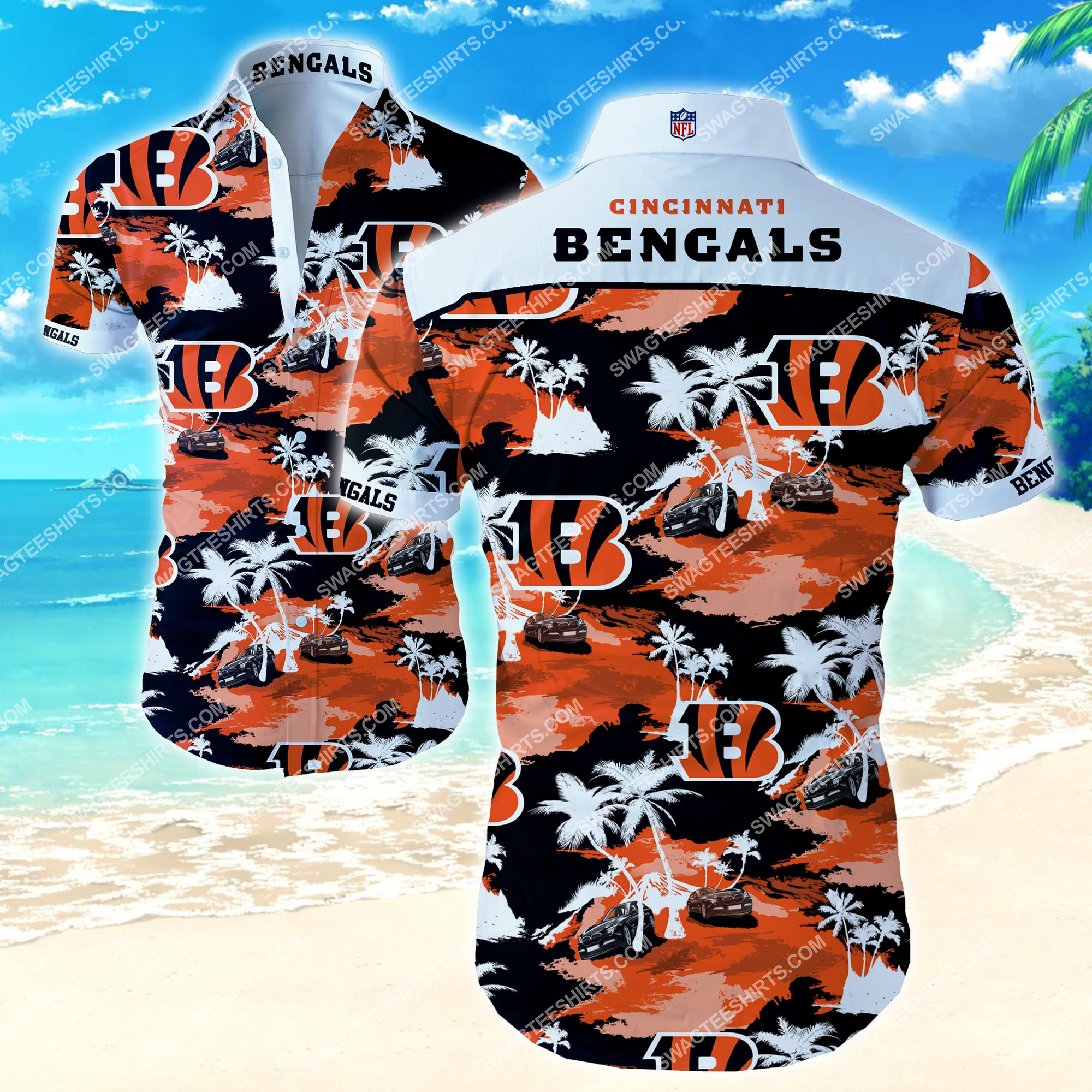 tropical Cincinnati Bengals football team summer hawaiian shirt 2 - Copy (2)
