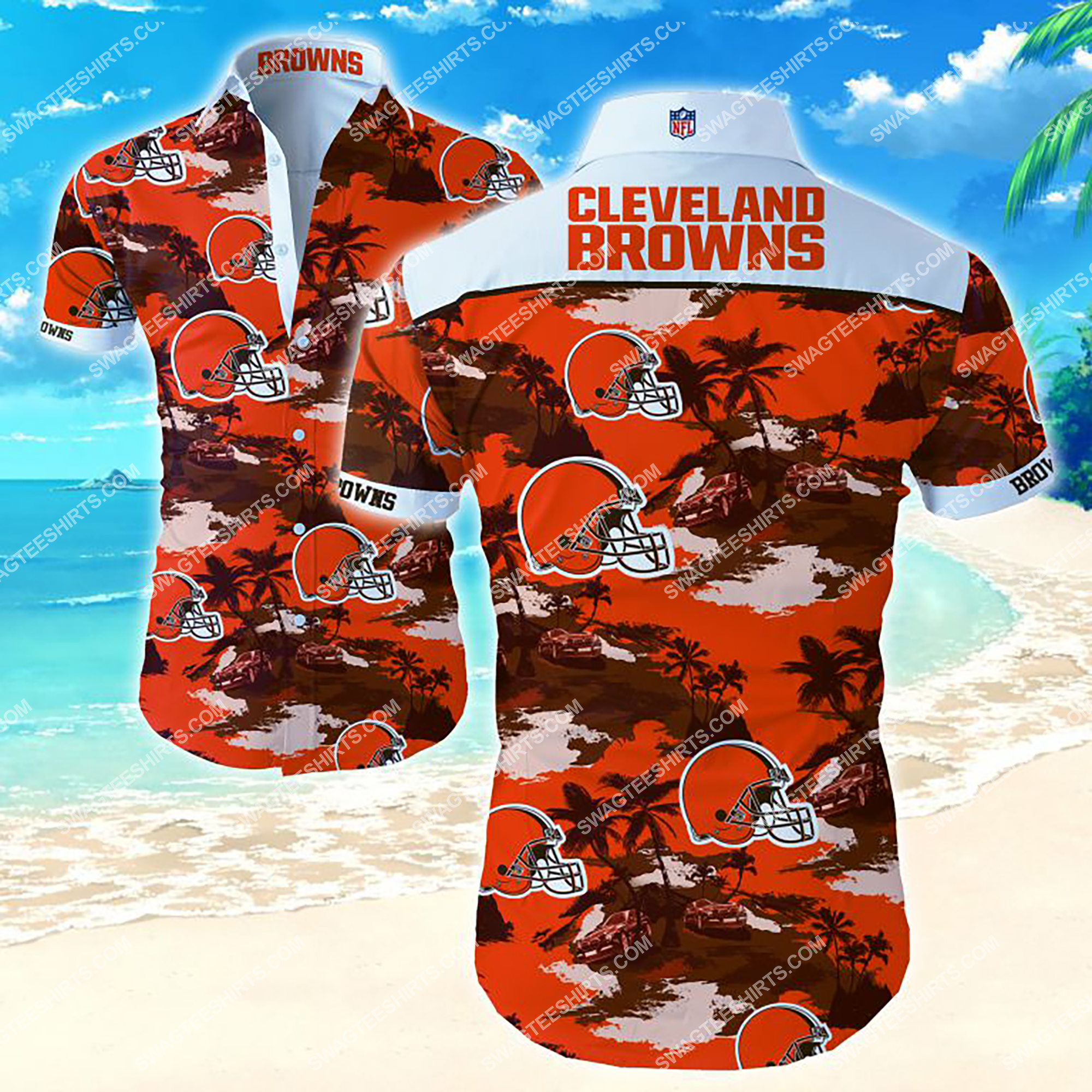 tropical cleveland browns team full printing summer hawaiian shirt 2 - Copy
