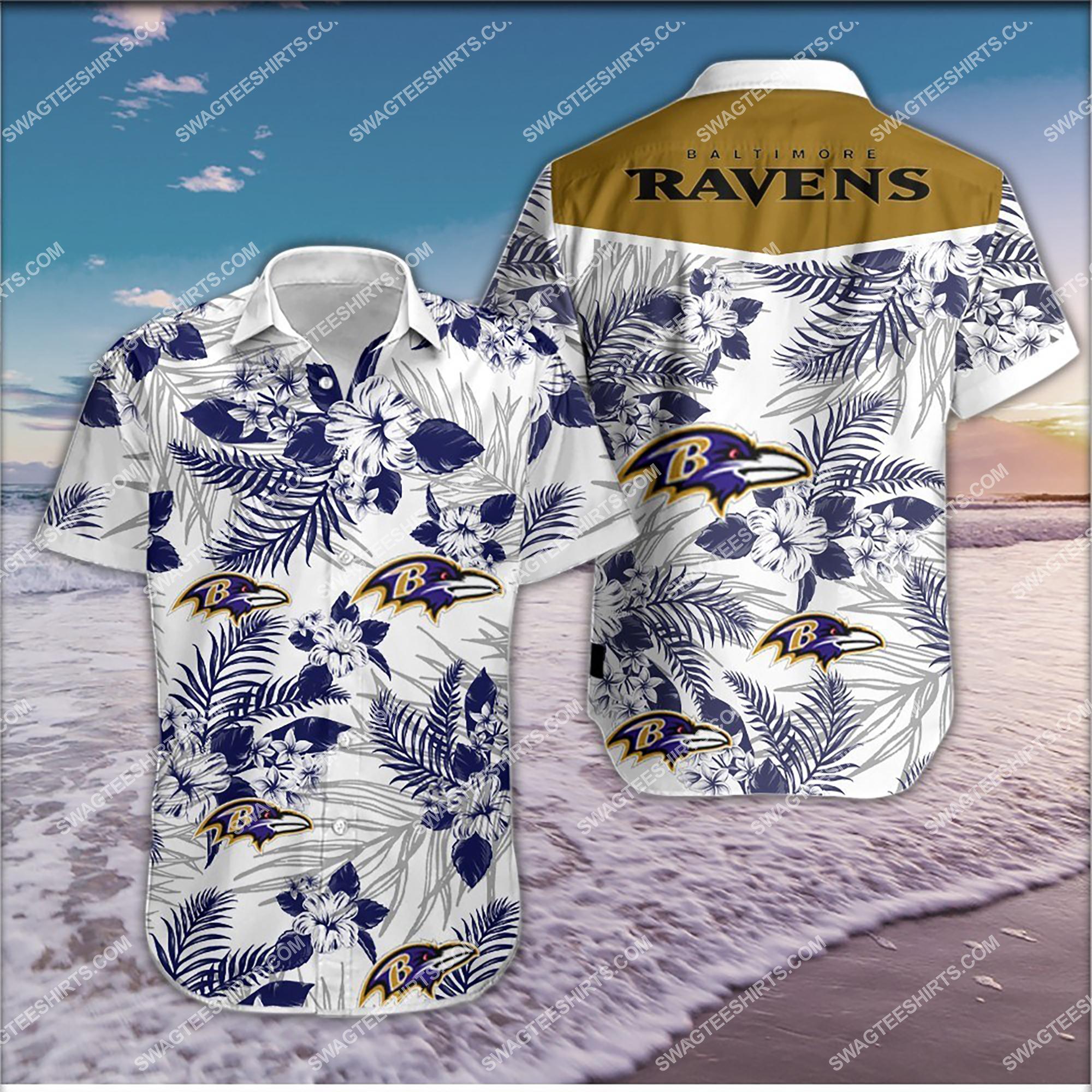 tropical flower baltimore ravens team summer hawaiian shirt 2