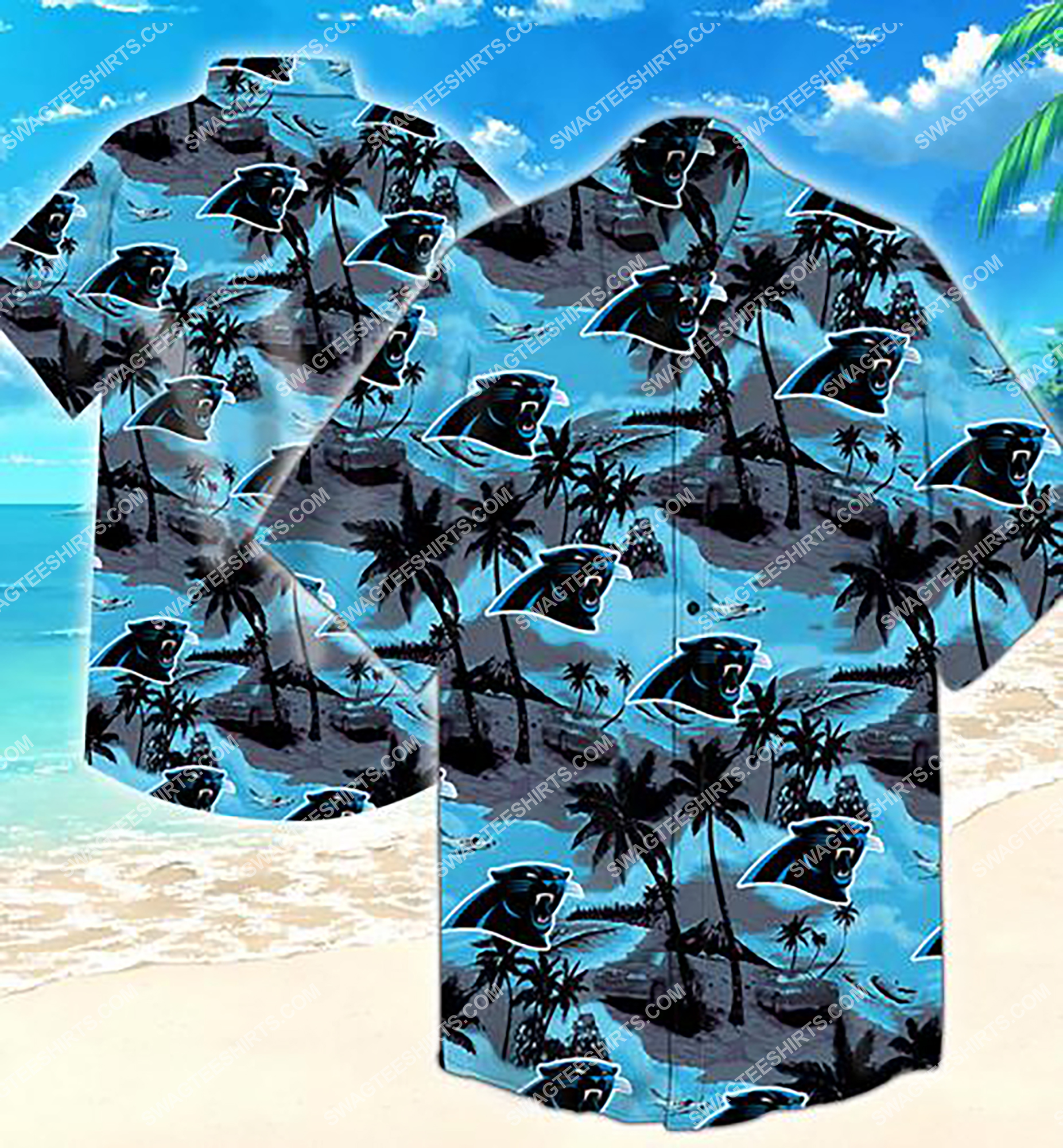 tropical flower carolina panthers team summer hawaiian shirt 2