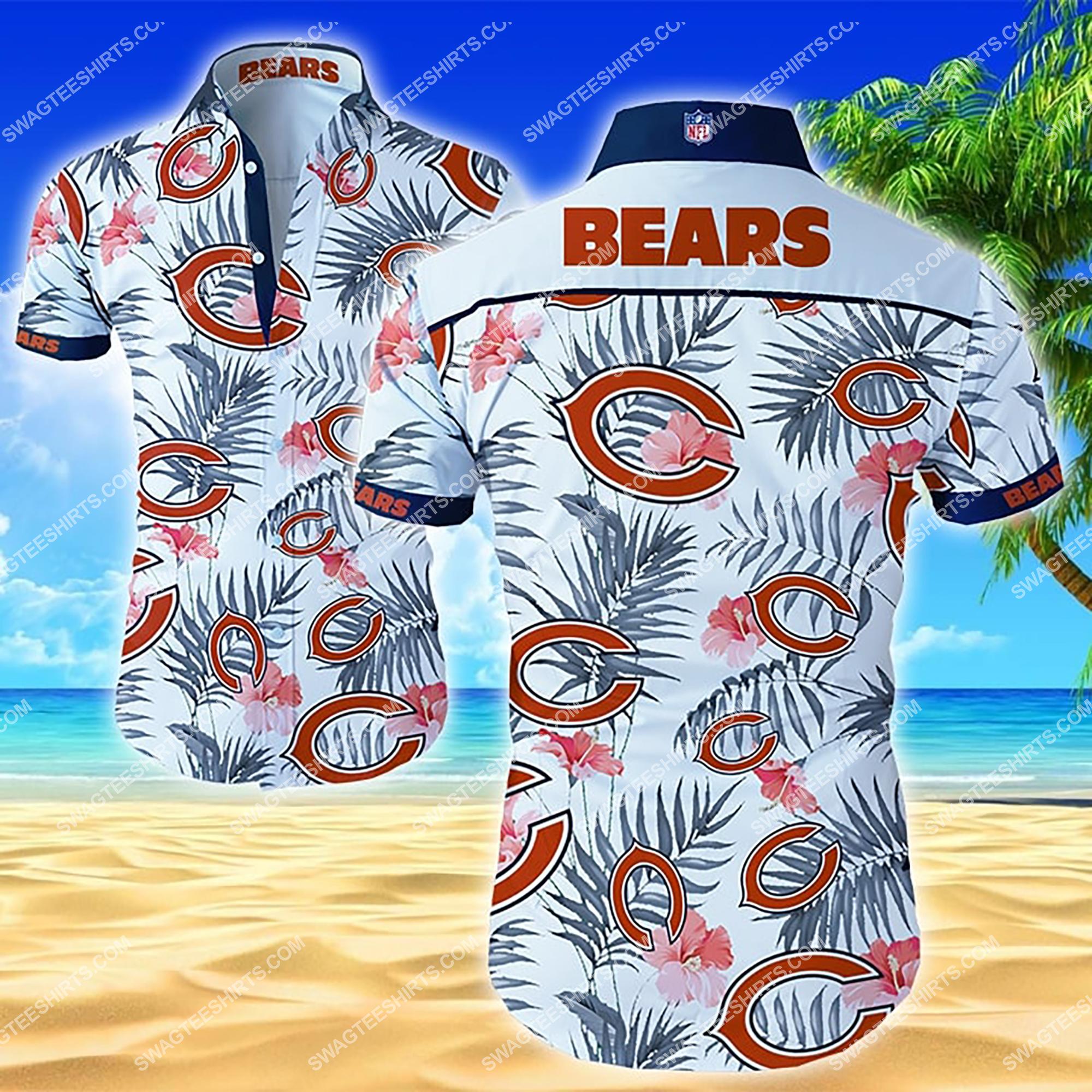 tropical flower chicago bears team summer hawaiian shirt 2