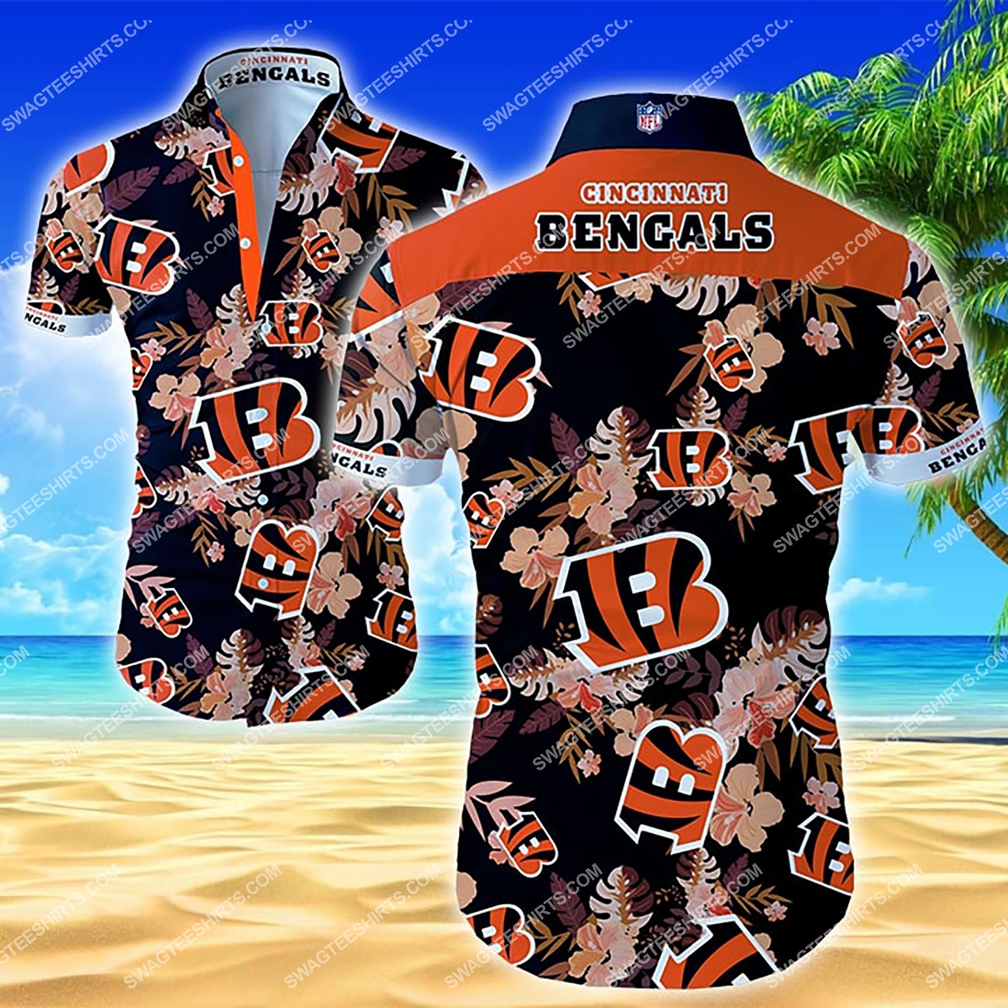 tropical flower cincinnati bengals team summer hawaiian shirt 2