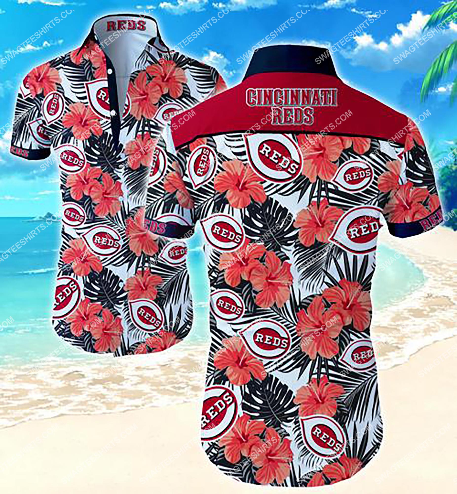 tropical flower cincinnati reds team summer hawaiian shirt 2