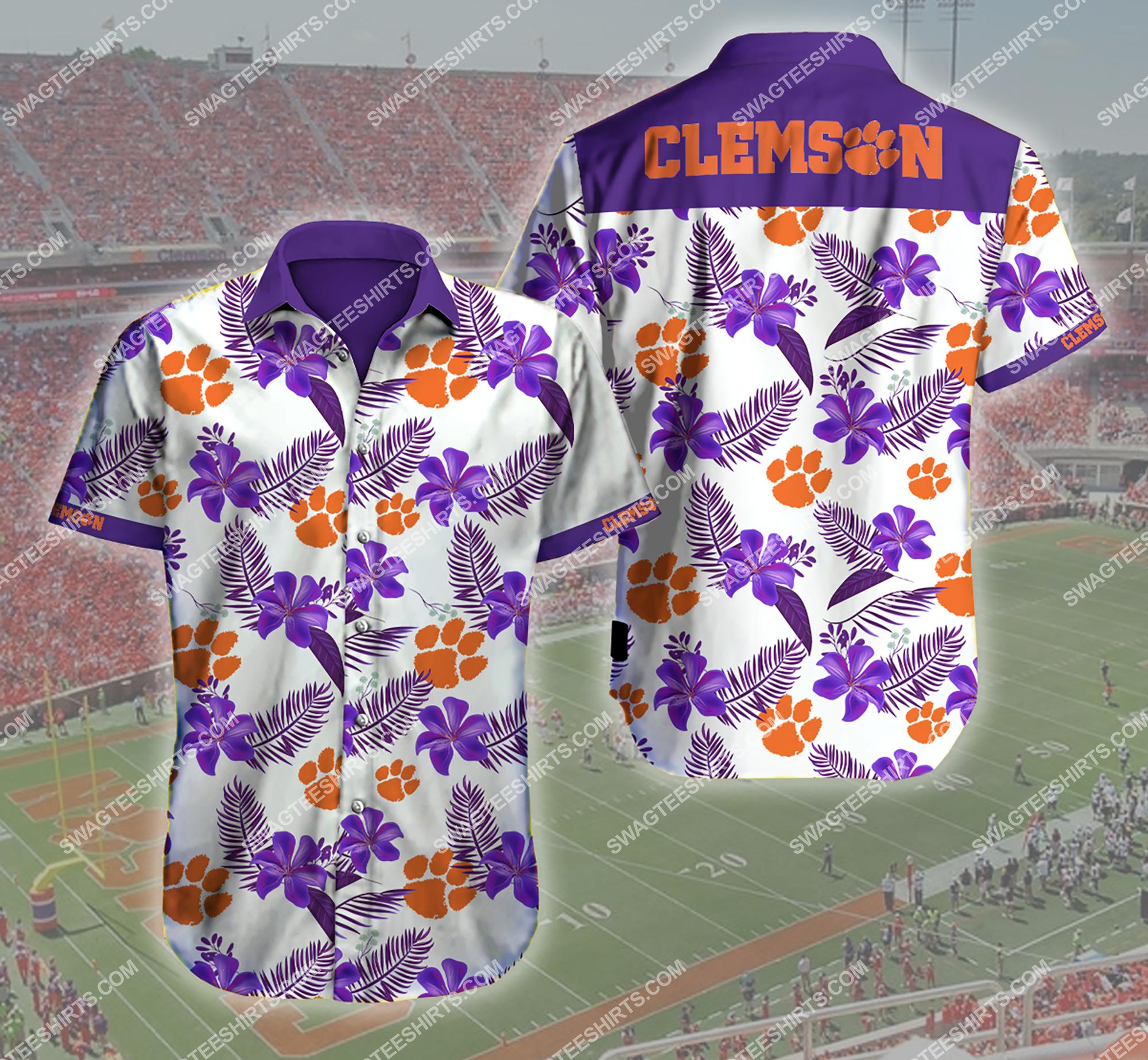 tropical flower clemson tigers football summer hawaiian shirt 2