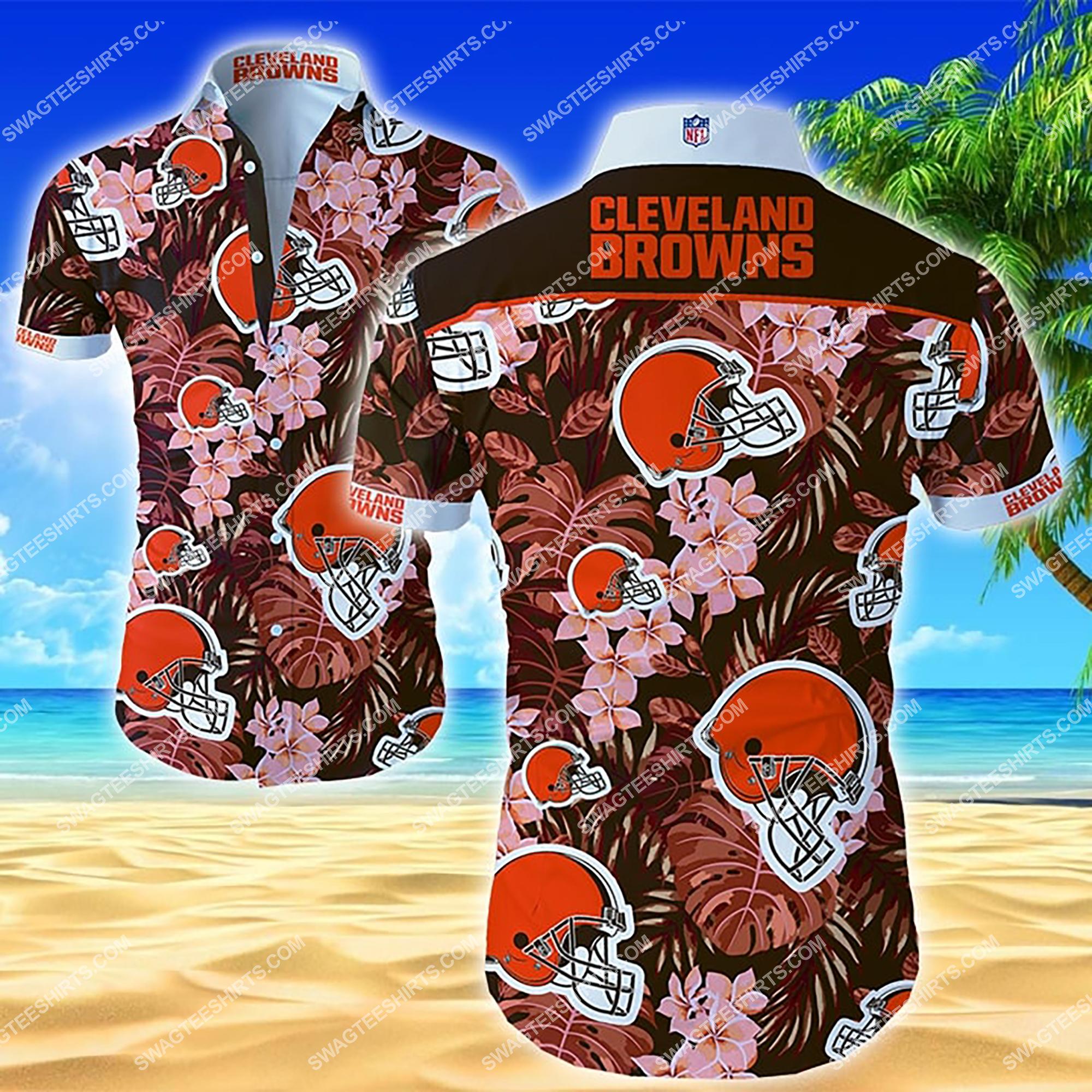 tropical flower cleveland browns team summer hawaiian shirt 2