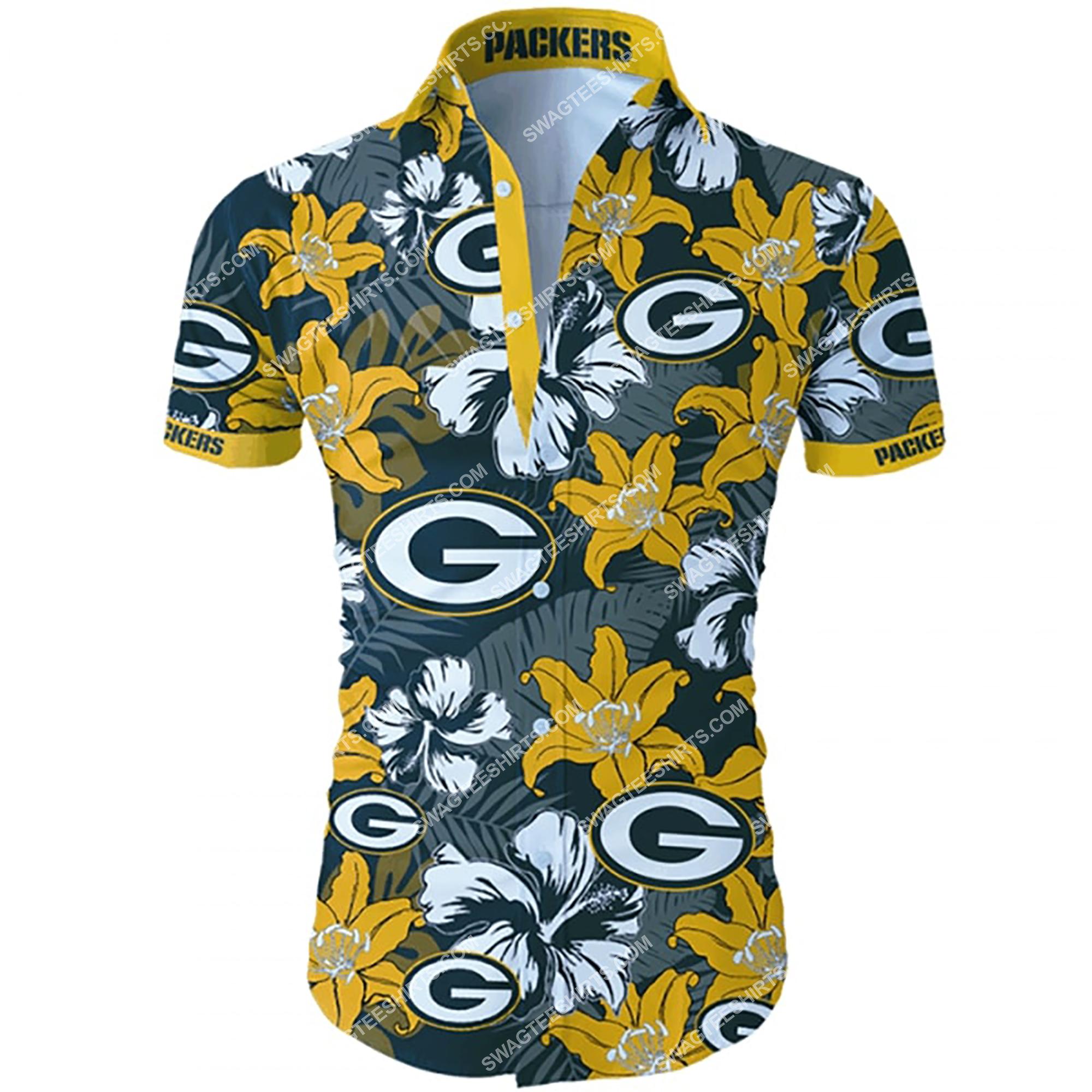 tropical flower green bay packers team summer hawaiian shirt 2 - Copy