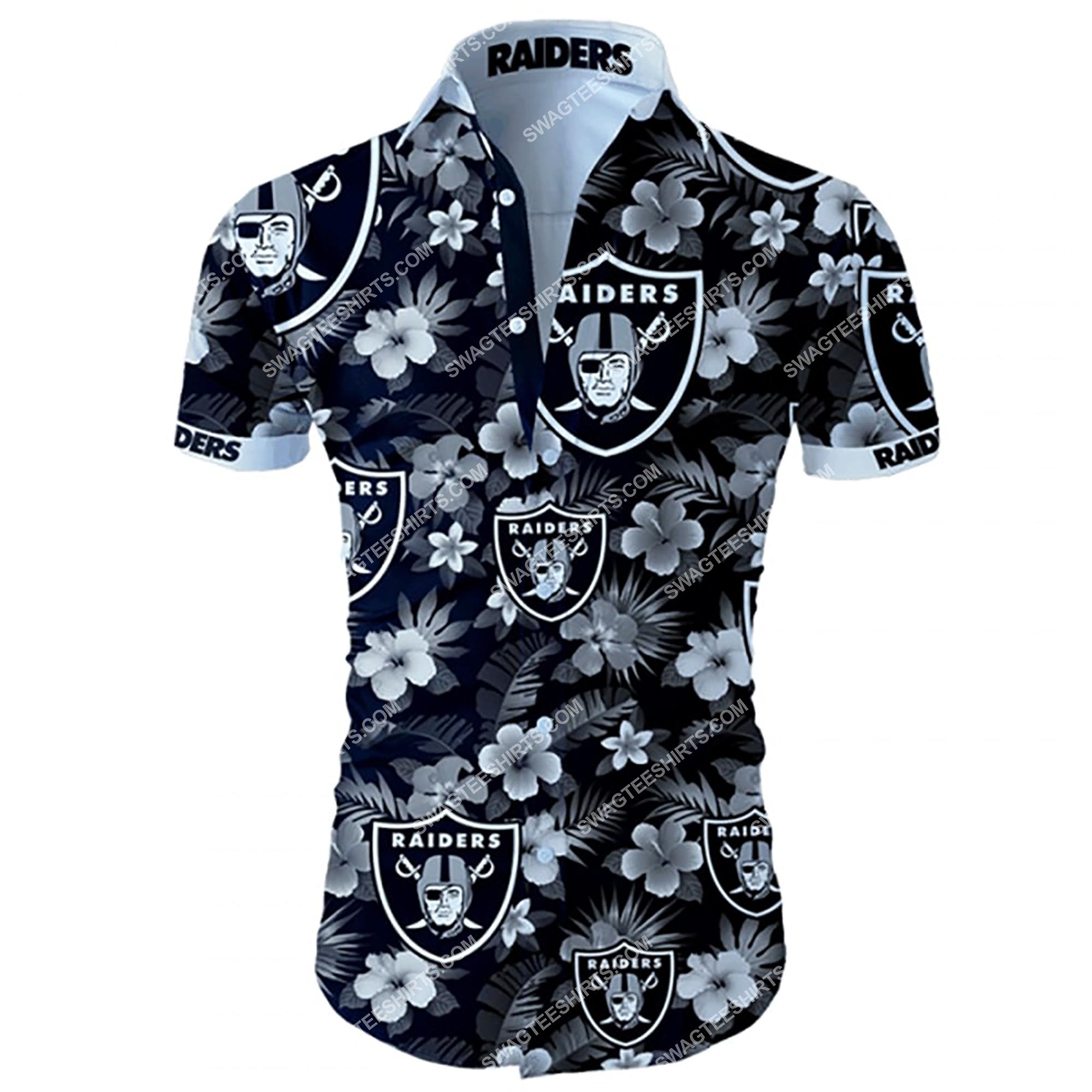 tropical flower las vegas raiders team summer hawaiian shirt 2 - Copy