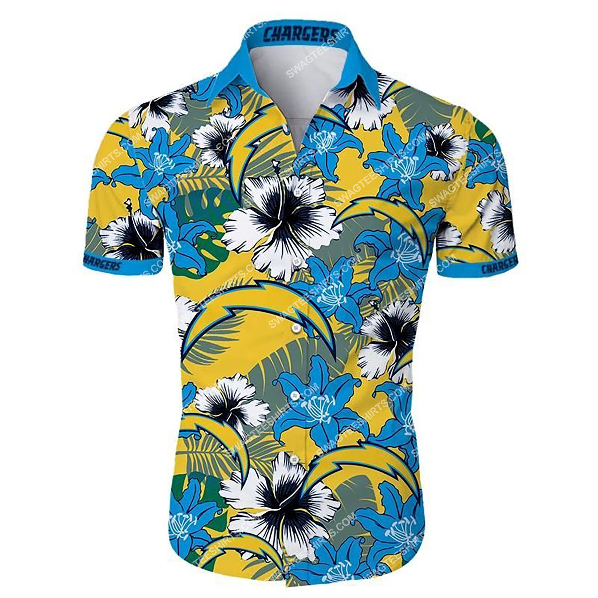 tropical flower los angeles chargers team summer hawaiian shirt 2 - Copy (3)