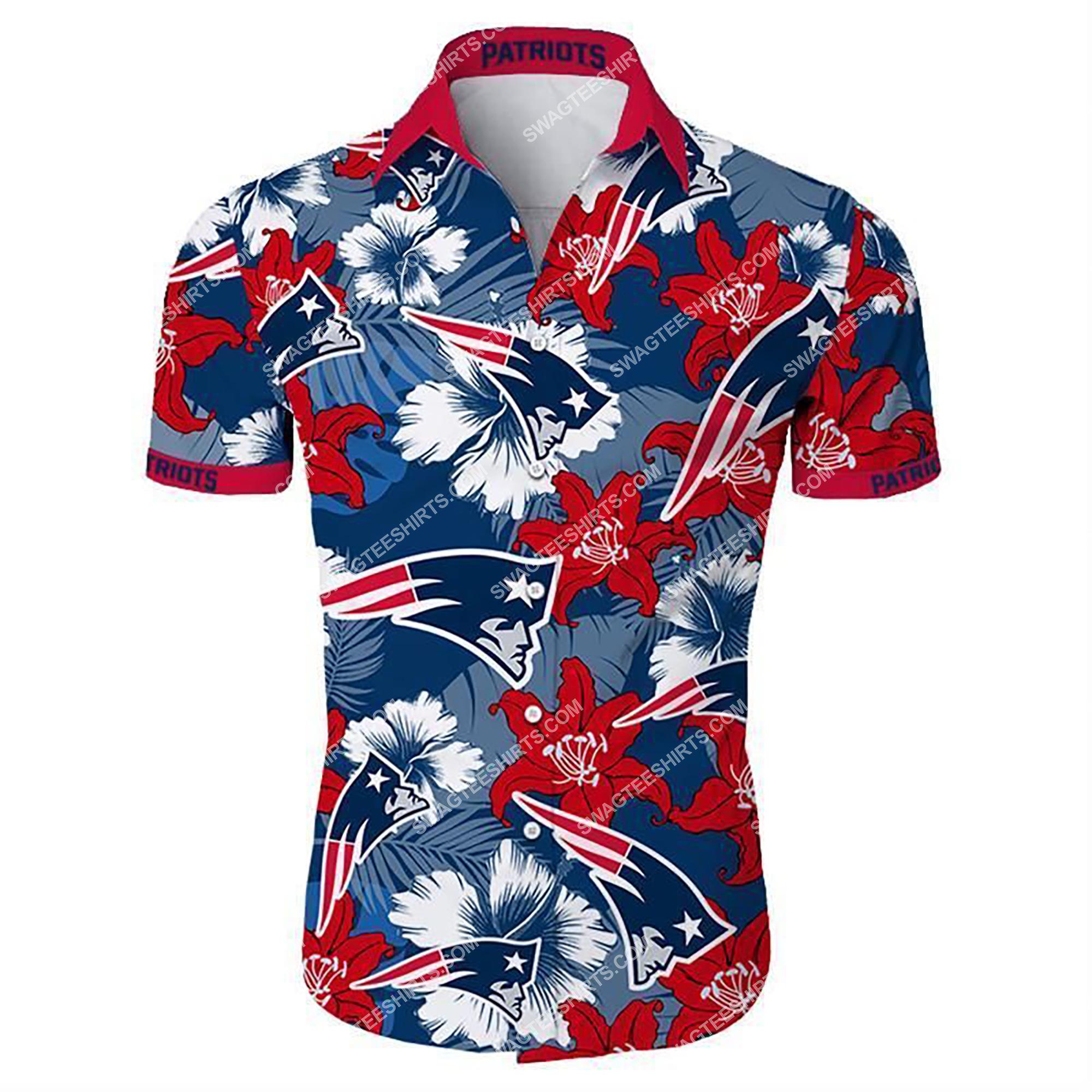 tropical flower new england patriots team summer hawaiian shirt 2
