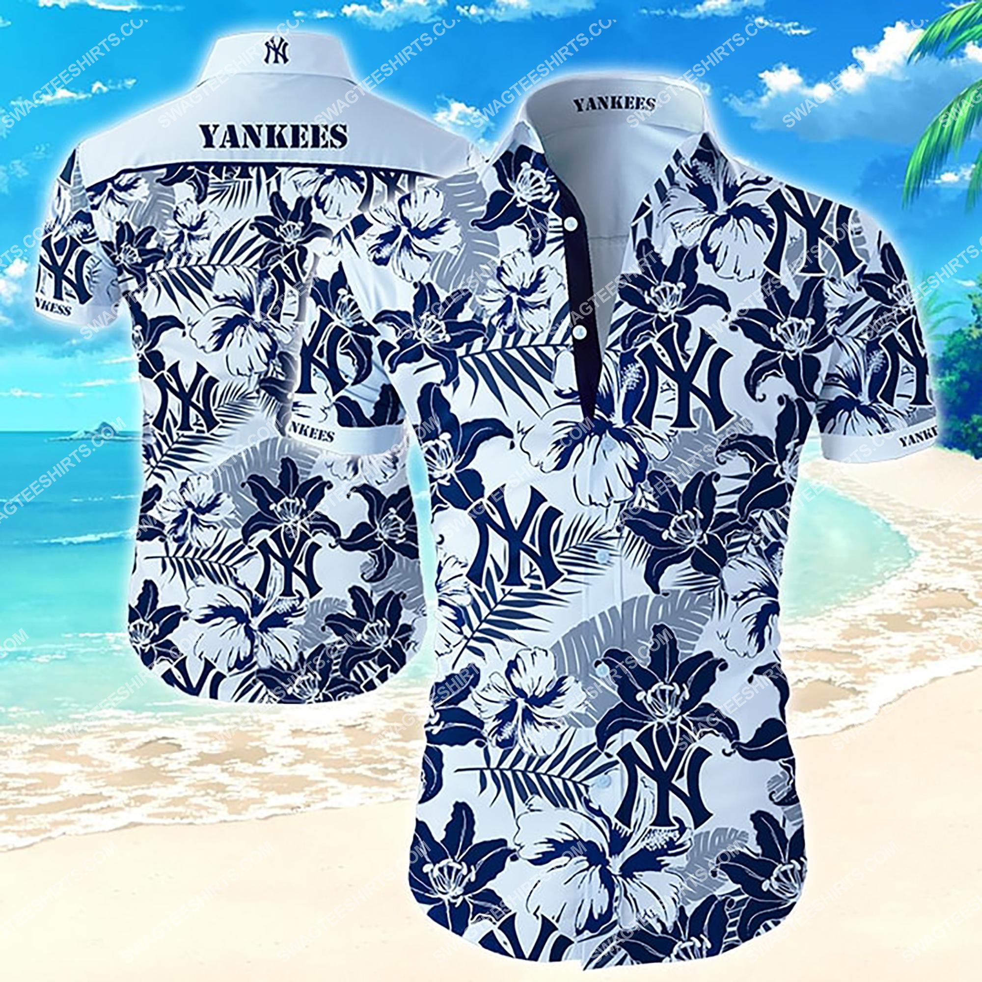 tropical flower new york yankees team summer hawaiian shirt 2