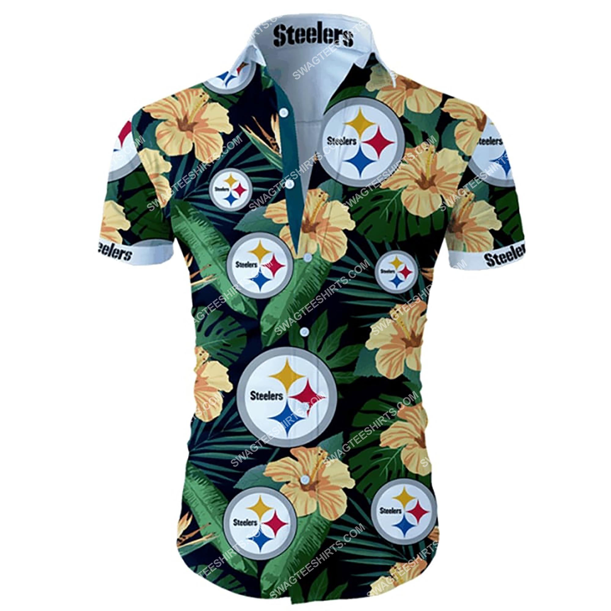 tropical flower pittsburgh steelers football summer hawaiian shirt 2